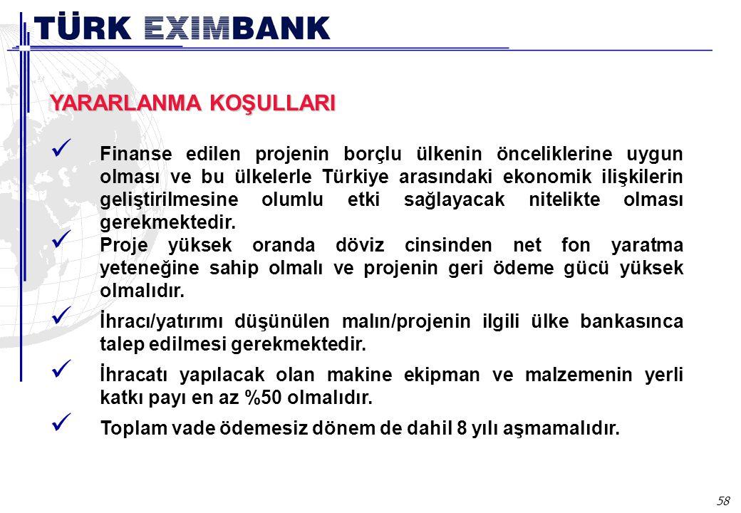 58 Ülke kredileri YARARLANMA KOŞULLARI Finanse edilen projenin borçlu ülkenin önceliklerine uygun olması ve bu ülkelerle Türkiye arasındaki ekonomik ilişkilerin geliştirilmesine olumlu etki sağlayacak nitelikte olması gerekmektedir.