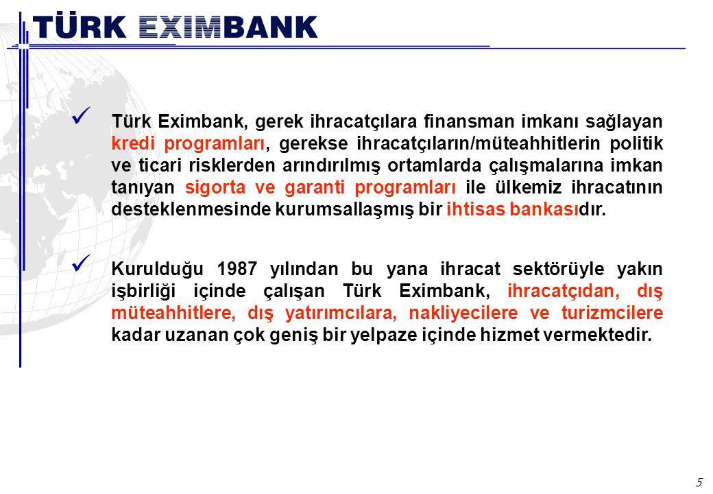 5 Türk Eximbank, gerek ihracatçılara finansman imkanı sağlayan kredi programları, gerekse ihracatçıların/müteahhitlerin politik ve ticari risklerden arındırılmış ortamlarda çalışmalarına imkan tanıyan sigorta ve garanti programları ile ülkemiz ihracatının desteklenmesinde kurumsallaşmış bir ihtisas bankasıdır.