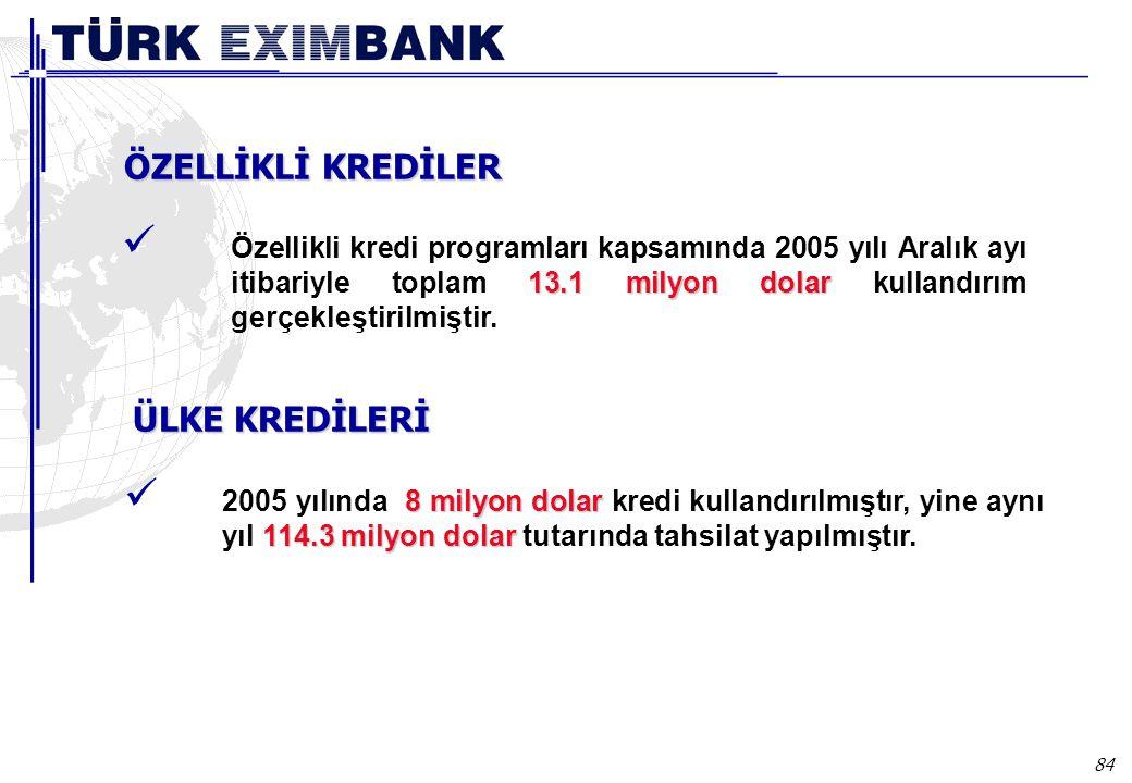 84 13.1 milyon dolar Özellikli kredi programları kapsamında 2005 yılı Aralık ayı itibariyle toplam 13.1 milyon dolar kullandırım gerçekleştirilmiştir.