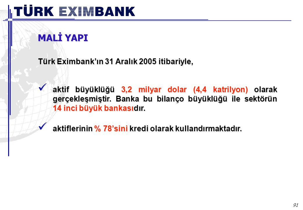 91 Türk Eximbank'ın 31 Aralık 2005 itibariyle, aktif büyüklüğü 3,2 milyar dolar (4,4 katrilyon) olarak gerçekleşmiştir. Banka bu bilanço büyüklüğü ile