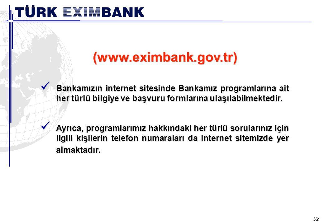 92 Bankamızın internet sitesinde Bankamız programlarına ait her türlü bilgiye ve başvuru formlarına ulaşılabilmektedir.
