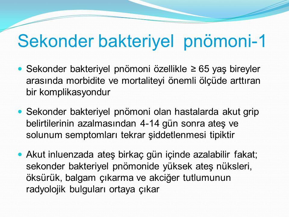 Sekonder bakteriyel pnömoni-1 Sekonder bakteriyel pnömoni özellikle ≥ 65 yaş bireyler arasında morbidite ve mortaliteyi önemli ölçüde arttıran bir kom