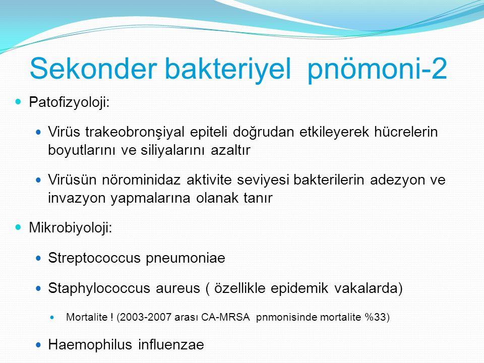 Sekonder bakteriyel pnömoni-2 Patofizyoloji: Virüs trakeobronşiyal epiteli doğrudan etkileyerek hücrelerin boyutlarını ve siliyalarını azaltır Virüsün