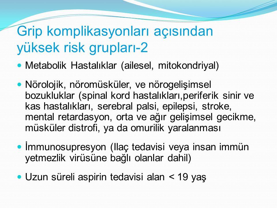 Grip komplikasyonları açısından yüksek risk grupları-2 Metabolik Hastalıklar (ailesel, mitokondriyal) Nörolojik, nöromüsküler, ve nörogelişimsel bozuk