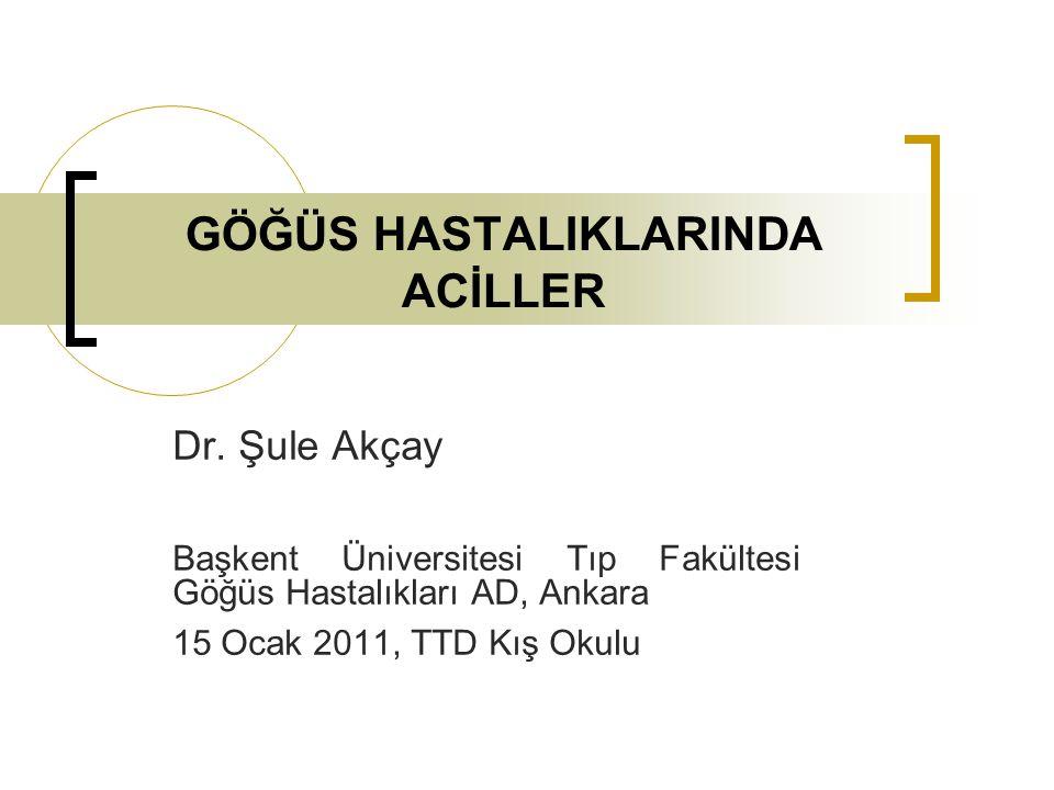 GÖĞÜS HASTALIKLARINDA ACİLLER Dr.