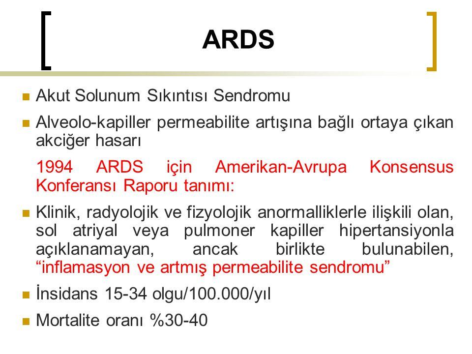 ARDS Akut Solunum Sıkıntısı Sendromu Alveolo-kapiller permeabilite artışına bağlı ortaya çıkan akciğer hasarı 1994 ARDS için Amerikan-Avrupa Konsensus Konferansı Raporu tanımı: Klinik, radyolojik ve fizyolojik anormalliklerle ilişkili olan, sol atriyal veya pulmoner kapiller hipertansiyonla açıklanamayan, ancak birlikte bulunabilen, inflamasyon ve artmış permeabilite sendromu İnsidans 15-34 olgu/100.000/yıl Mortalite oranı %30-40