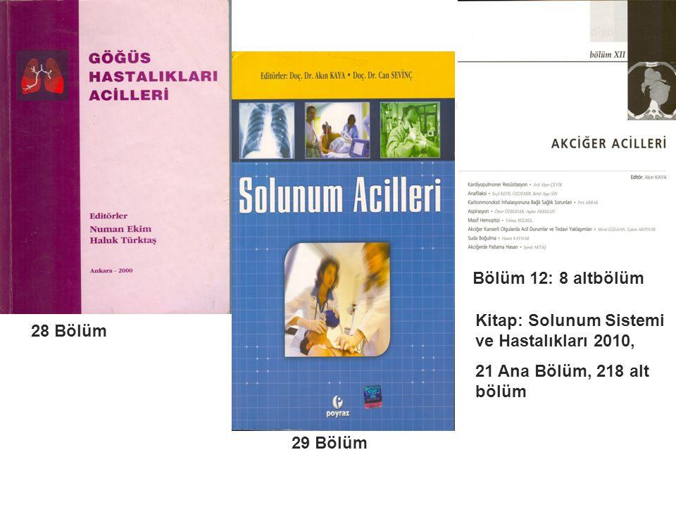 28 Bölüm 29 Bölüm Bölüm 12: 8 altbölüm Kitap: Solunum Sistemi ve Hastalıkları 2010, 21 Ana Bölüm, 218 alt bölüm