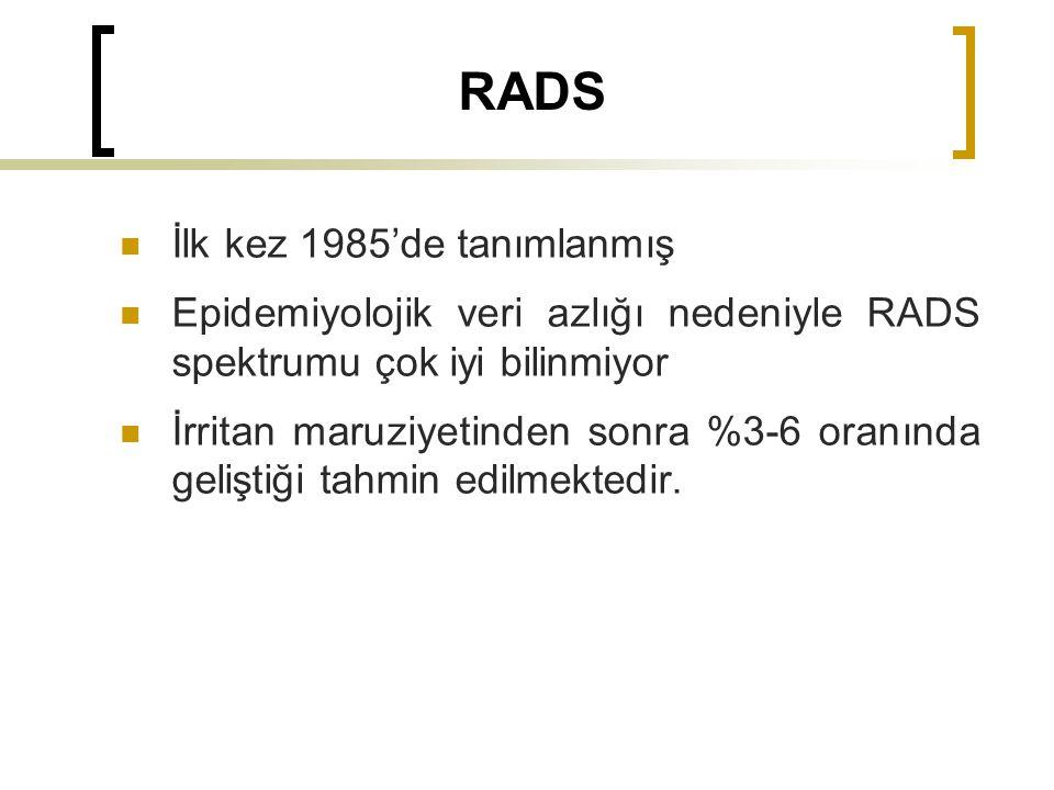 RADS İlk kez 1985'de tanımlanmış Epidemiyolojik veri azlığı nedeniyle RADS spektrumu çok iyi bilinmiyor İrritan maruziyetinden sonra %3-6 oranında geliştiği tahmin edilmektedir.