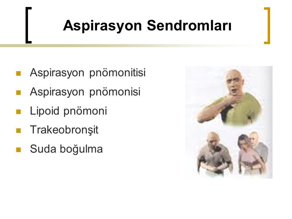 Aspirasyon Sendromları Aspirasyon pnömonitisi Aspirasyon pnömonisi Lipoid pnömoni Trakeobronşit Suda boğulma
