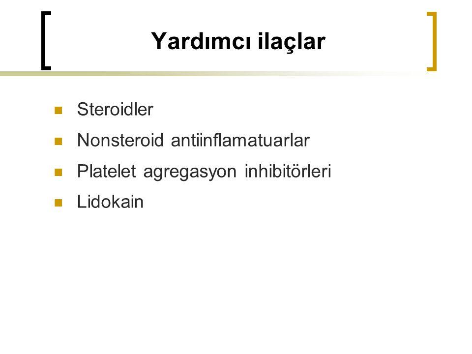 Yardımcı ilaçlar Steroidler Nonsteroid antiinflamatuarlar Platelet agregasyon inhibitörleri Lidokain