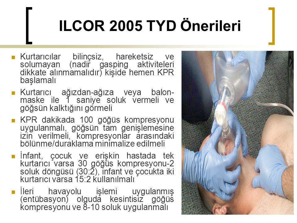 ILCOR 2005 TYD Önerileri Kurtarıcılar bilinçsiz, hareketsiz ve solumayan (nadir gasping aktiviteleri dikkate alınmamalıdır) kişide hemen KPR başlamalı Kurtarıcı ağızdan-ağıza veya balon- maske ile 1 saniye soluk vermeli ve göğsün kalktığını görmeli KPR dakikada 100 göğüs kompresyonu uygulanmalı, göğsün tam genişlemesine izin verilmeli, kompresyonlar arasındaki bölünme/duraklama minimalize edilmeli İnfant, çocuk ve erişkin hastada tek kurtarıcı varsa 30 göğüs kompresyonu-2 soluk döngüsü (30:2), infant ve çocukta iki kurtarıcı varsa 15:2 kullanılmalı İleri havayolu işlemi uygulanmış (entübasyon) olguda kesintisiz göğüs kompresyonu ve 8-10 soluk uygulanmalı