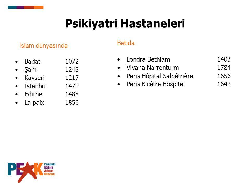 Psikiyatri Hastaneleri Badat1072 Şam1248 Kayseri1217 İstanbul 1470 Edirne1488 La paix1856 Batıda Londra Bethlam1403 Viyana Narrenturm1784 Paris Hôpital Salpêtrière 1656 Paris Bicêtre Hospital1642 İslam dünyasında