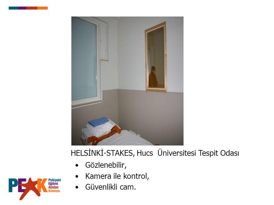 Gözlenebilir, Kamera ile kontrol, Güvenlikli cam. HELSİNKİ-STAKES, Hucs Üniversitesi Tespit Odası