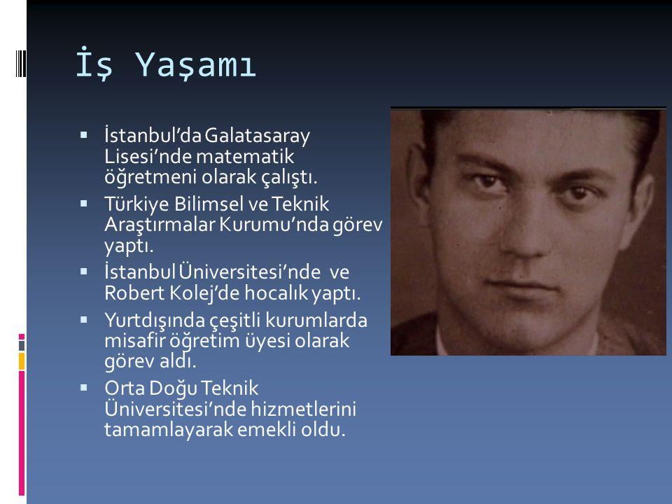 İş Yaşamı  İstanbul'da Galatasaray Lisesi'nde matematik öğretmeni olarak çalıştı.  Türkiye Bilimsel ve Teknik Araştırmalar Kurumu'nda görev yaptı. 