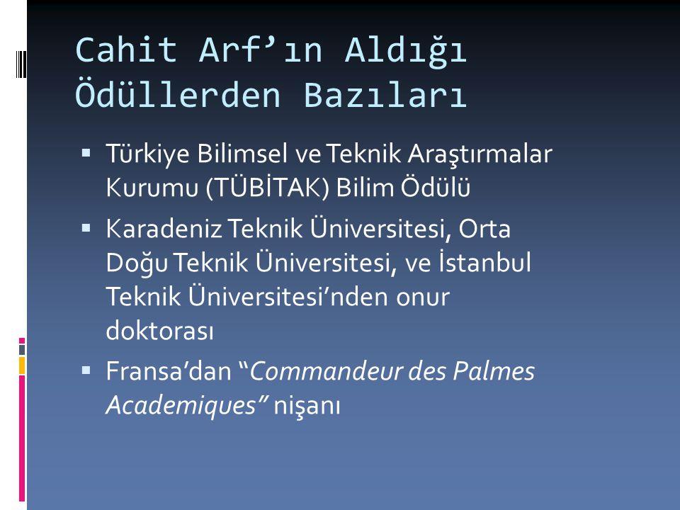 Cahit Arf'ın Aldığı Ödüllerden Bazıları  Türkiye Bilimsel ve Teknik Araştırmalar Kurumu (TÜBİTAK) Bilim Ödülü  Karadeniz Teknik Üniversitesi, Orta D