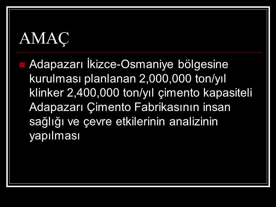 AMAÇ Adapazarı İkizce-Osmaniye bölgesine kurulması planlanan 2,000,000 ton/yıl klinker 2,400,000 ton/yıl çimento kapasiteli Adapazarı Çimento Fabrikas