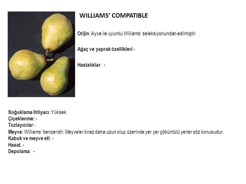 WILLIAMS' COMPATIBLE Orijin : Ayva ile uyumlu Williams' seleksiyonundan edilmiştir. Ağaç ve yaprak özellikleri :- Hastalıklar : - Soğuklama ihtiyacı :