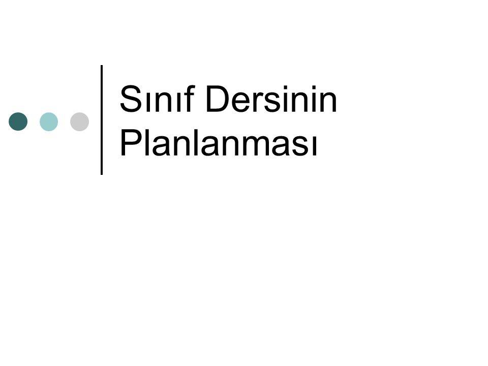 Sınıf Dersinin Planlanması