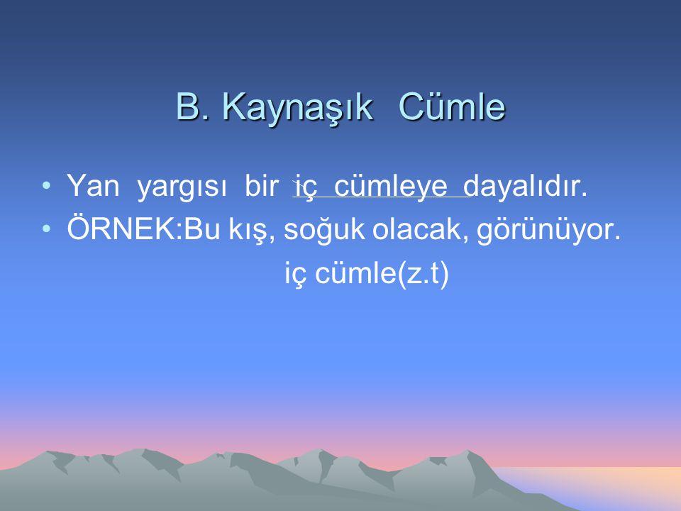 B. Kaynaşık Cümle Yan yargısı bir iç cümleye dayalıdır. ÖRNEK:Bu kış, soğuk olacak, görünüyor. iç cümle(z.t)