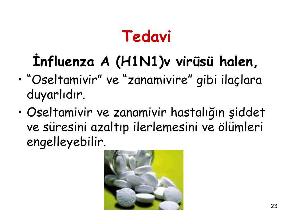 23 Tedavi İnfluenza A (H1N1)v virüsü halen, Oseltamivir ve zanamivire gibi ilaçlara duyarlıdır.