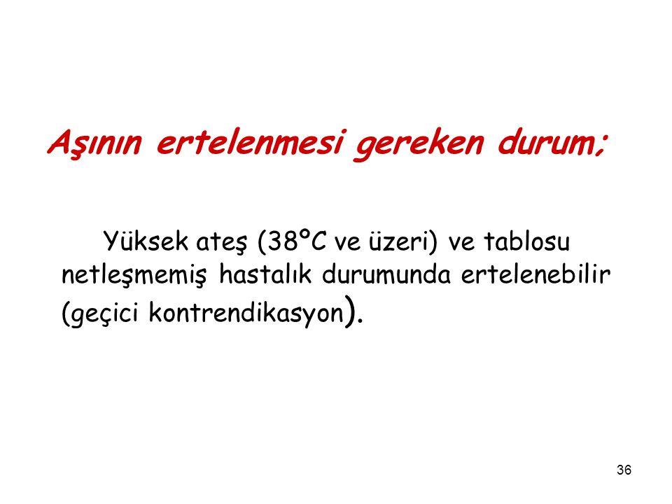 36 Aşının ertelenmesi gereken durum; Yüksek ateş (38ºC ve üzeri) ve tablosu netleşmemiş hastalık durumunda ertelenebilir (geçici kontrendikasyon ).
