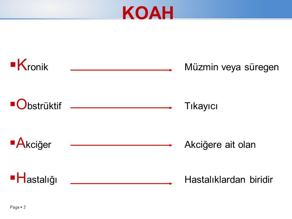 Page  3 KOAH  K ronik Müzmin veya süregen  O bstrüktifTıkayıcı  A kciğerAkciğere ait olan  H astalığıHastalıklardan biridir