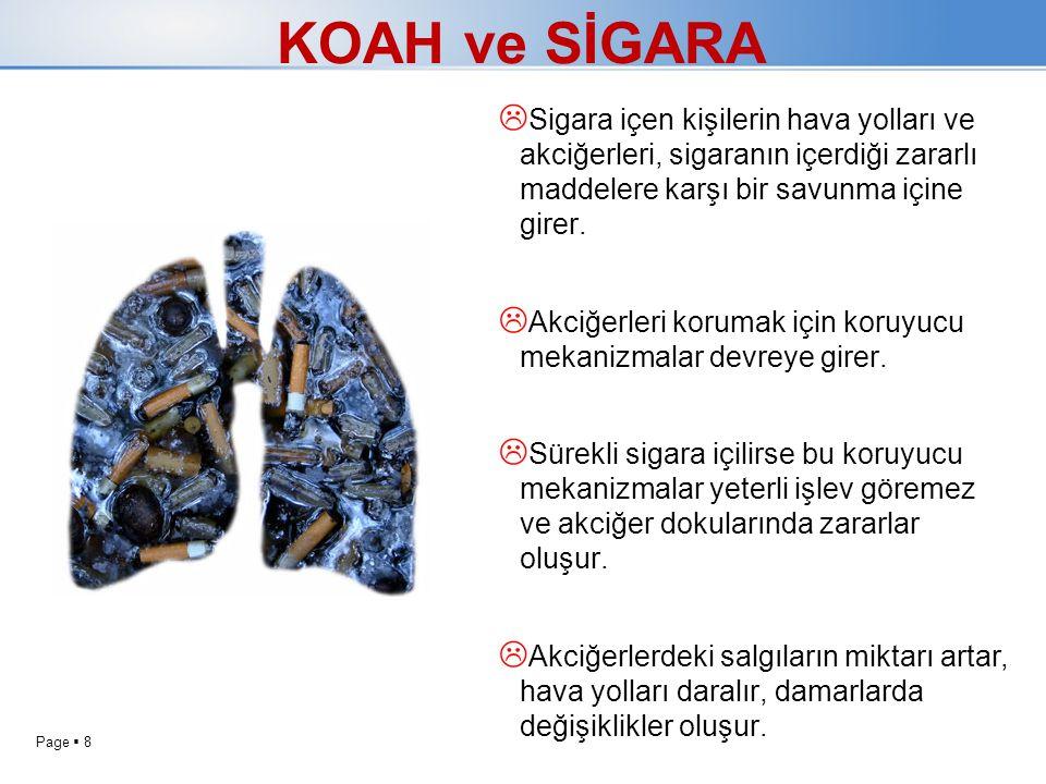 Page  8 KOAH ve SİGARA  Sigara içen kişilerin hava yolları ve akciğerleri, sigaranın içerdiği zararlı maddelere karşı bir savunma içine girer.  Akc