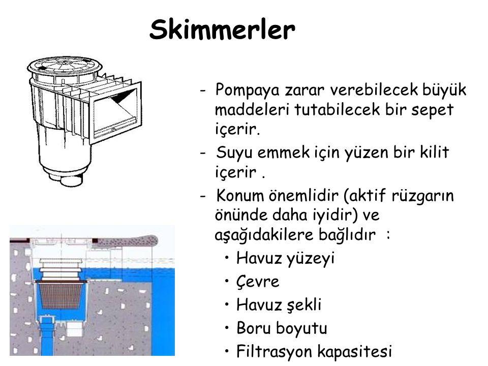 Skimmerler - Pompaya zarar verebilecek büyük maddeleri tutabilecek bir sepet içerir. - Suyu emmek için yüzen bir kilit içerir. - Konum önemlidir (akti