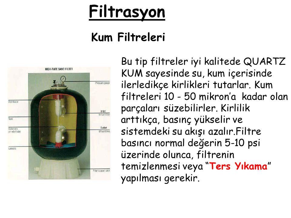 Filtrasyon Kum Filtreleri Bu tip filtreler iyi kalitede QUARTZ KUM sayesinde su, kum içerisinde ilerledikçe kirlikleri tutarlar. Kum filtreleri 10 - 5