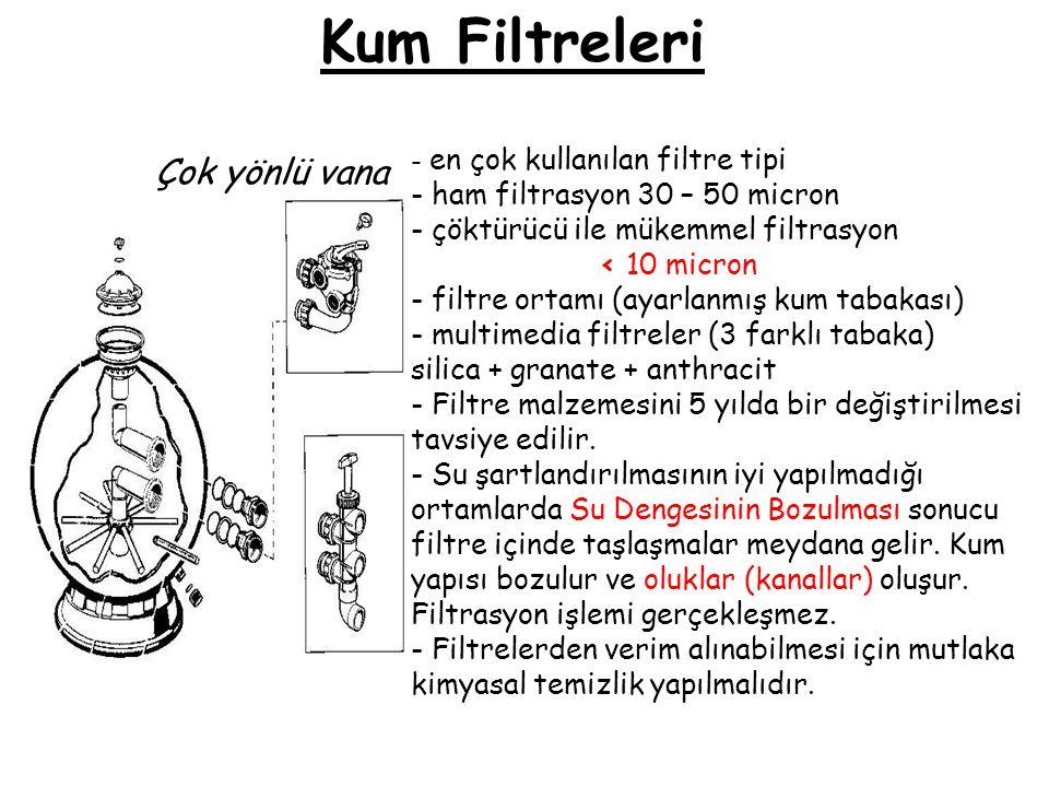 Kum Filtreleri - en çok kullanılan filtre tipi - ham filtrasyon 30 – 50 micron - çöktürücü ile mükemmel filtrasyon < 10 micron - filtre ortamı (ayarla