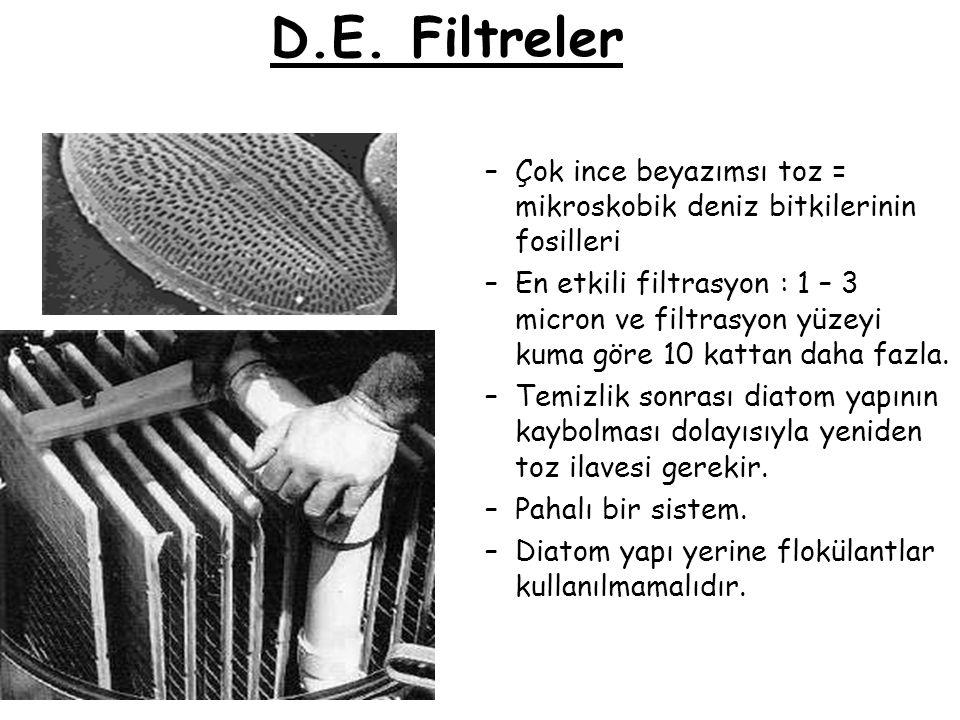 D.E. Filtreler –Çok ince beyazımsı toz = mikroskobik deniz bitkilerinin fosilleri –En etkili filtrasyon : 1 – 3 micron ve filtrasyon yüzeyi kuma göre