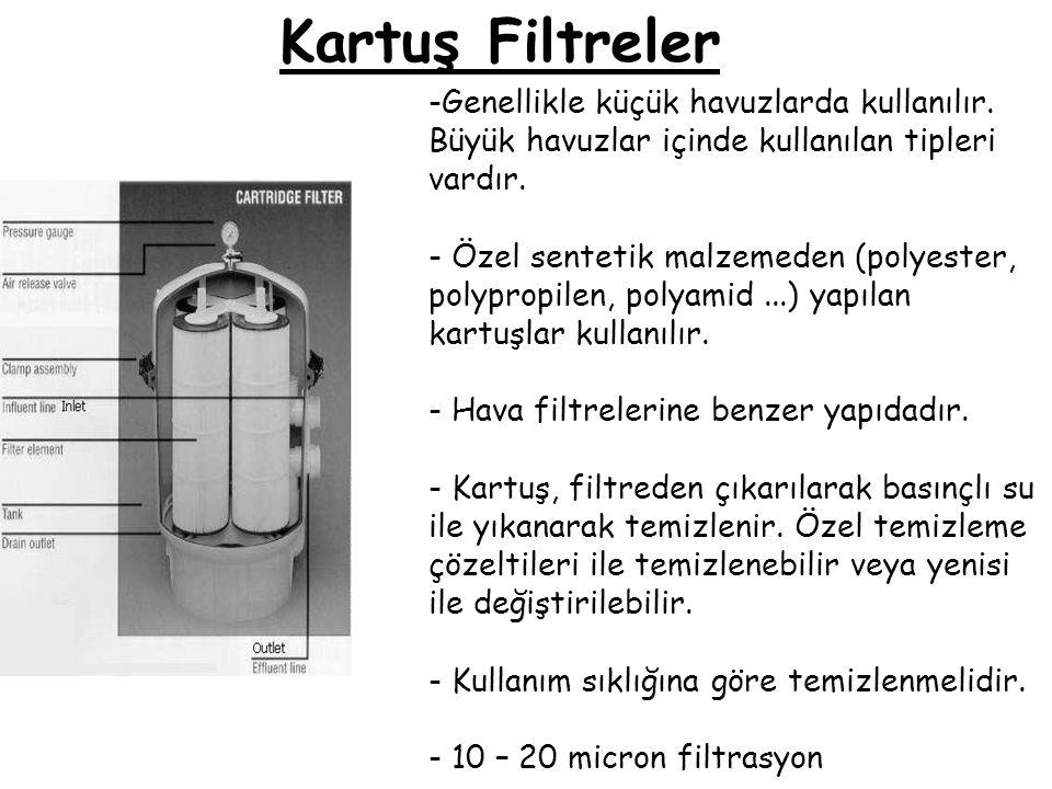 Kartuş Filtreler -Genellikle küçük havuzlarda kullanılır. Büyük havuzlar içinde kullanılan tipleri vardır. - Özel sentetik malzemeden (polyester, poly