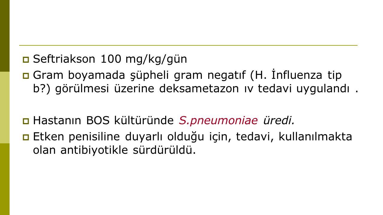  Seftriakson 100 mg/kg/gün  Gram boyamada şüpheli gram negatıf (H.
