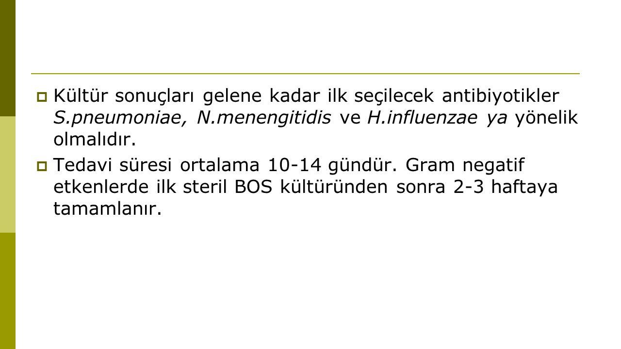  Kültür sonuçları gelene kadar ilk seçilecek antibiyotikler S.pneumoniae, N.menengitidis ve H.influenzae ya yönelik olmalıdır.