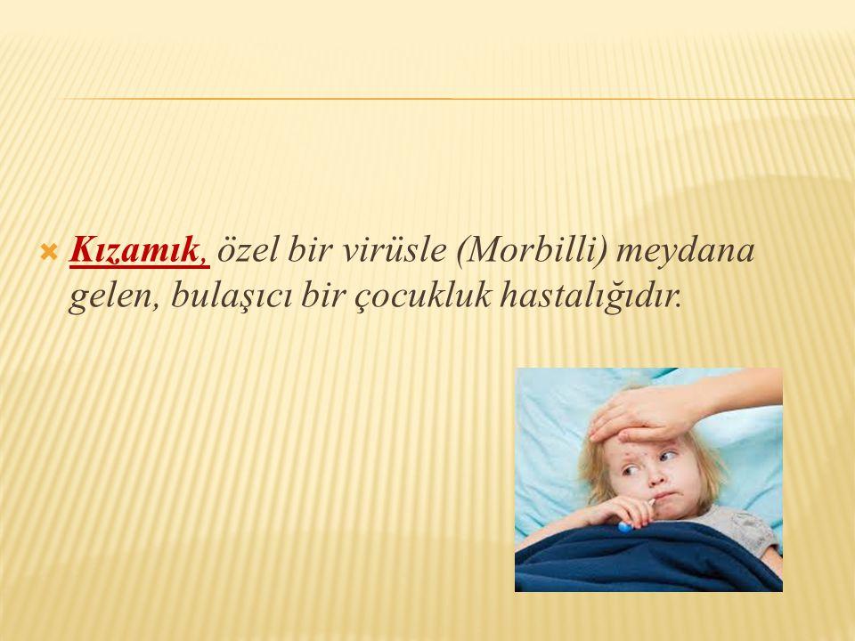  Kızamık, özel bir virüsle (Morbilli) meydana gelen, bulaşıcı bir çocukluk hastalığıdır.