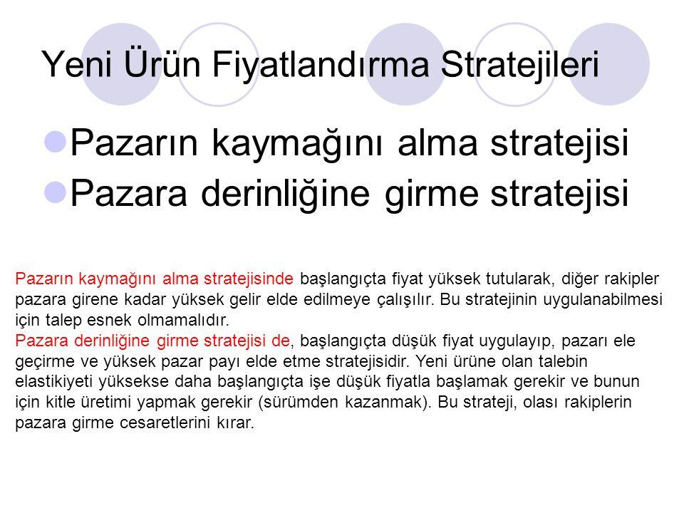 Yeni Ürün Fiyatlandırma Stratejileri Pazarın kaymağını alma stratejisi Pazara derinliğine girme stratejisi Pazarın kaymağını alma stratejisinde başlan