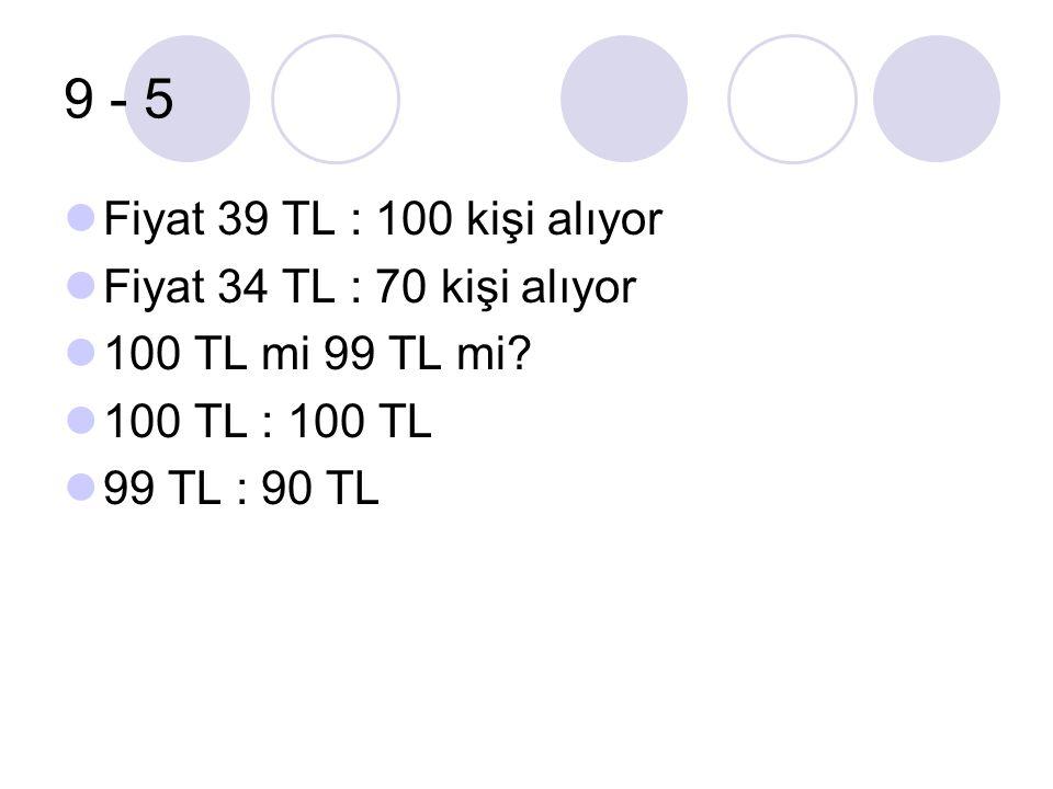 9 - 5 Fiyat 39 TL : 100 kişi alıyor Fiyat 34 TL : 70 kişi alıyor 100 TL mi 99 TL mi? 100 TL : 100 TL 99 TL : 90 TL