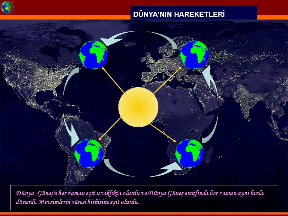 DÜNYA'NIN HAREKETLERİ Dünya, Güneş'e her zaman eşit uzaklıkta olurdu ve Dünya Güneş etrafında her zaman aynı hızla dönerdi. Mevsimlerin süresi birbiri