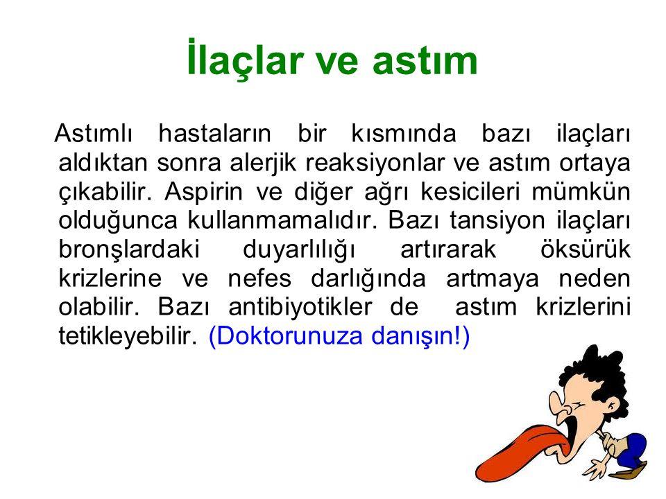 İlaçlar ve astım Astımlı hastaların bir kısmında bazı ilaçları aldıktan sonra alerjik reaksiyonlar ve astım ortaya çıkabilir. Aspirin ve diğer ağrı ke