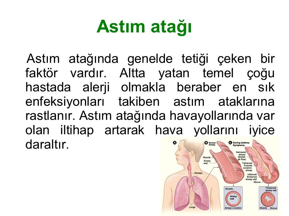 Astım atağı Astım atağında genelde tetiği çeken bir faktör vardır. Altta yatan temel çoğu hastada alerji olmakla beraber en sık enfeksiyonları takiben