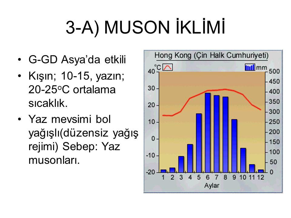 3-A) MUSON İKLİMİ G-GD Asya'da etkili Kışın; 10-15, yazın; 20-25 o C ortalama sıcaklık. Yaz mevsimi bol yağışlı(düzensiz yağış rejimi) Sebep: Yaz muso