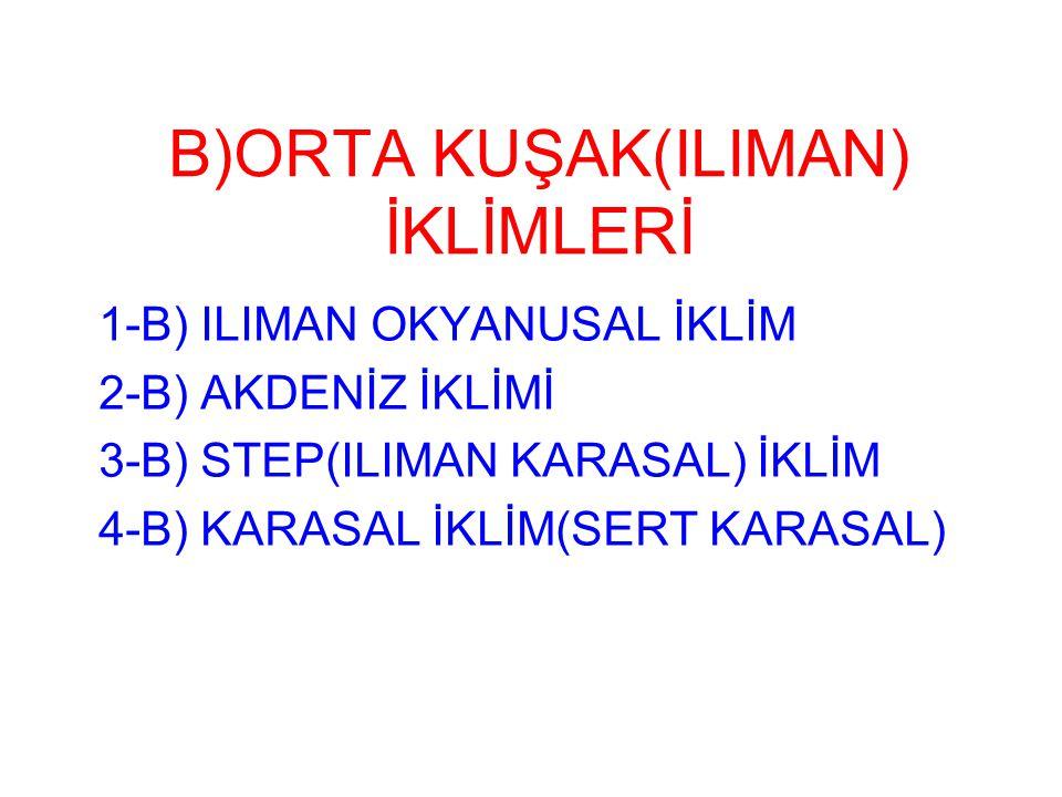 B)ORTA KUŞAK(ILIMAN) İKLİMLERİ 1-B) ILIMAN OKYANUSAL İKLİM 2-B) AKDENİZ İKLİMİ 3-B) STEP(ILIMAN KARASAL) İKLİM 4-B) KARASAL İKLİM(SERT KARASAL)