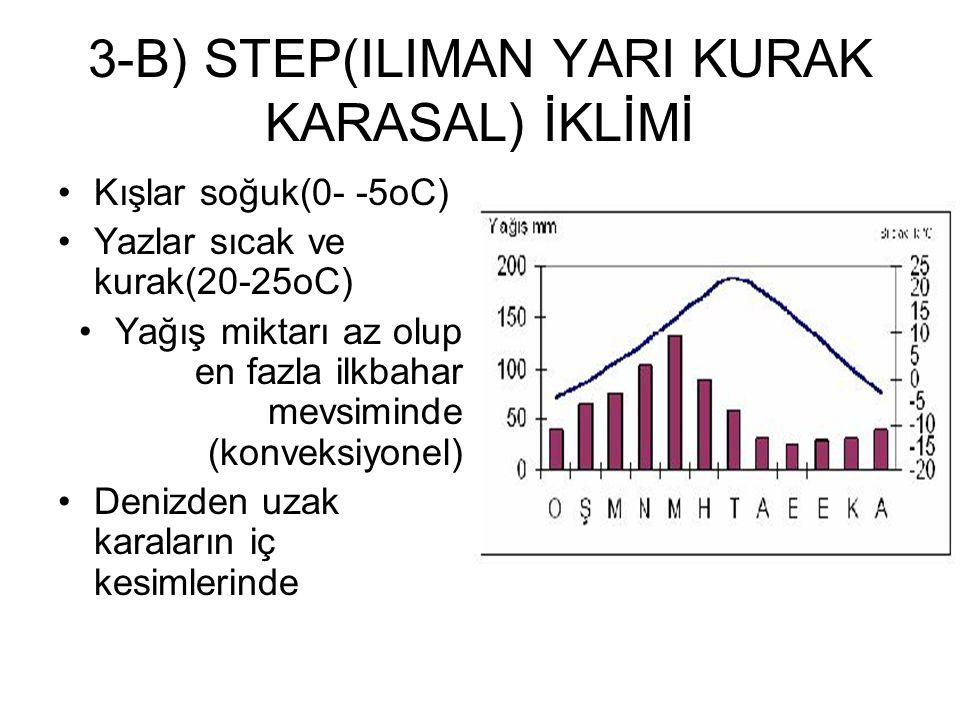 3-B) STEP(ILIMAN YARI KURAK KARASAL) İKLİMİ Kışlar soğuk(0- -5oC) Yazlar sıcak ve kurak(20-25oC) Yağış miktarı az olup en fazla ilkbahar mevsiminde (k