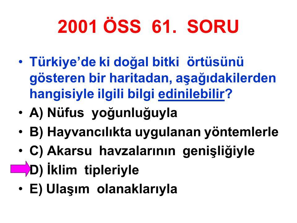 2001 ÖSS 61. SORU Türkiye'de ki doğal bitki örtüsünü gösteren bir haritadan, aşağıdakilerden hangisiyle ilgili bilgi edinilebilir? A) Nüfus yoğunluğuy