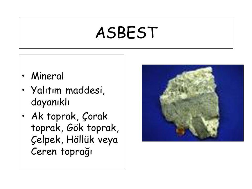 ASBEST Mineral Yalıtım maddesi, dayanıklı Ak toprak, Çorak toprak, Gök toprak, Çelpek, Höllük veya Ceren toprağı