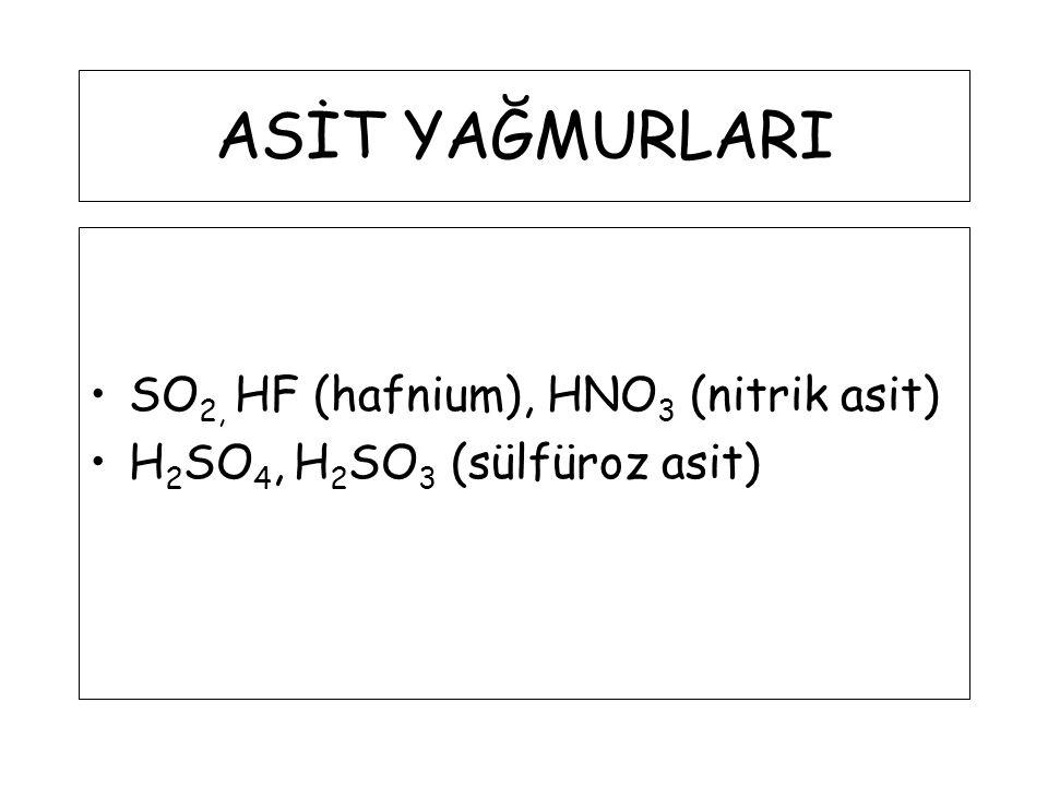 ASİT YAĞMURLARI SO 2, HF (hafnium), HNO 3 (nitrik asit) H 2 SO 4, H 2 SO 3 (sülfüroz asit)