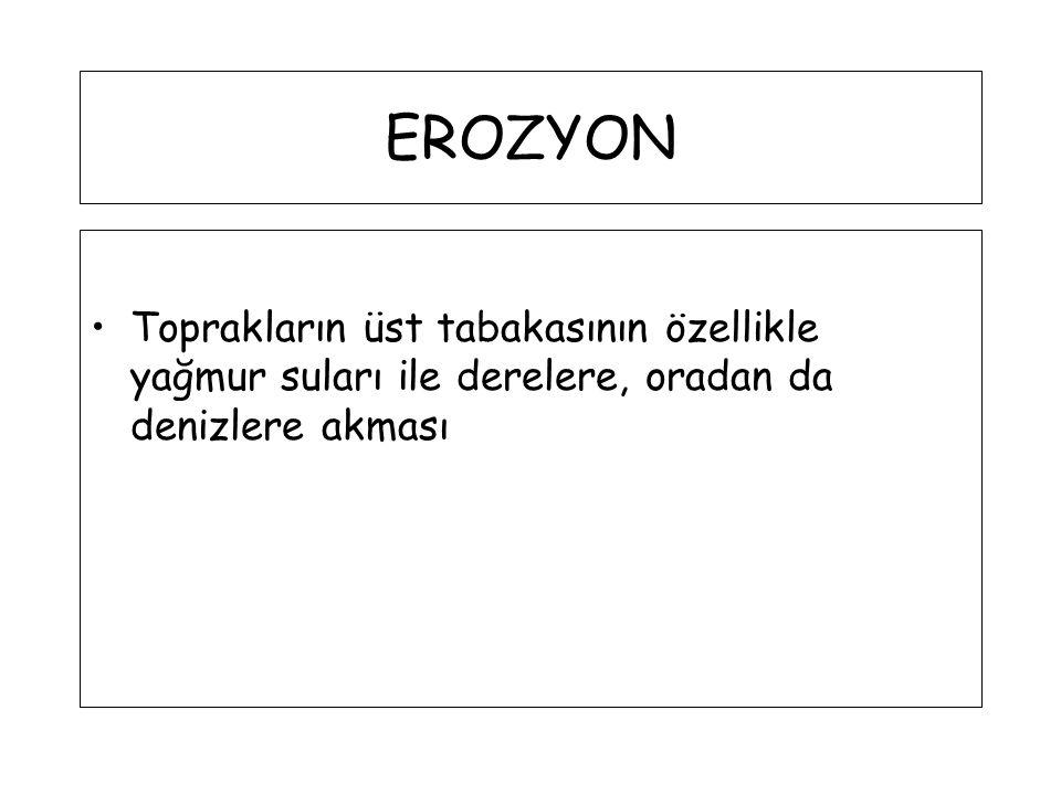 EROZYON Toprakların üst tabakasının özellikle yağmur suları ile derelere, oradan da denizlere akması