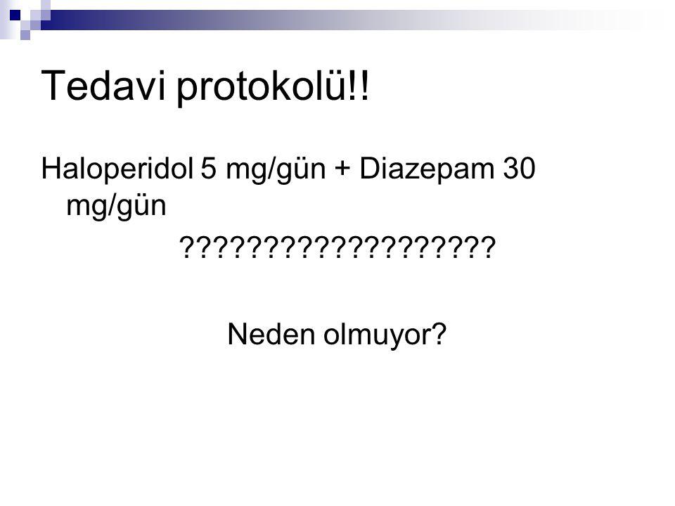 Tedavi protokolü!! Haloperidol 5 mg/gün + Diazepam 30 mg/gün ??????????????????? Neden olmuyor?
