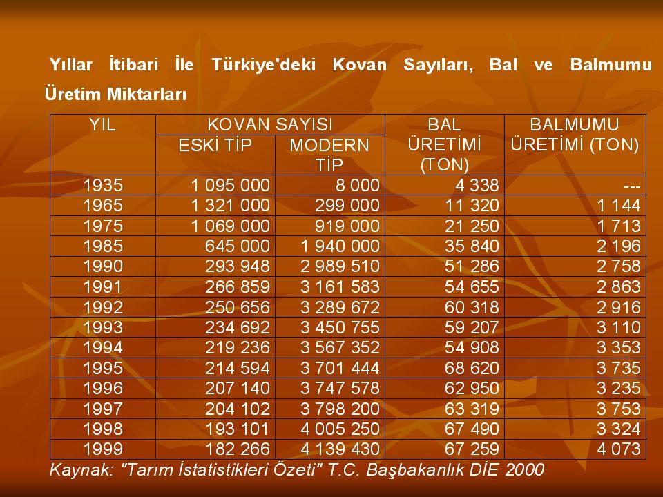 Bugün ülkemizde 40 bin aile geçimini arıcılıkla sağlamaktadır. Türkiye'nin yıllık bal üretimi 65-70 bin tonlara yükselmiştir. Arıcılığın arı ürünleri