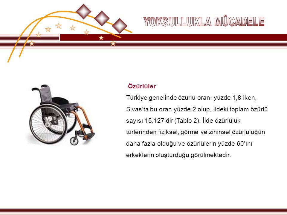 Özürlüler Türkiye genelinde özürlü oranı yüzde 1,8 iken, Sivas'ta bu oran yüzde 2 olup, ildeki toplam özürlü sayısı 15.127'dir (Tablo 2). İlde özürlül